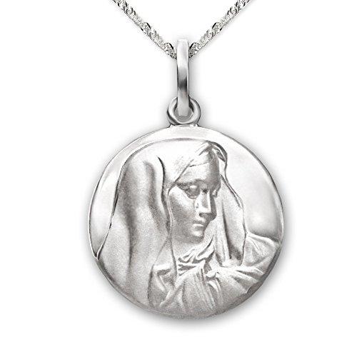 Clever Schmuck Set Silberner Damen Anhänger rund Ø 16 mm Bildnis Heilige Maria Madonna Dolorosa Mutter Gottes matt glänzend und Kette Singapur 45 cm STERLING...