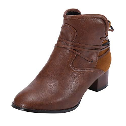 Bottes de Neige,Subfamily Bottines Cuir Femme Chaussures Boot Plateforme Vintage Chunky Talons Talons éPais Heel Bottines Bottines Chaussures Zippées Chaussures de Ville