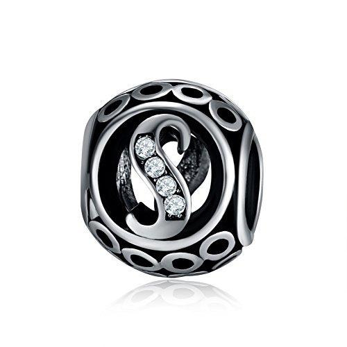 Waya plata charms alfabeto S letra inicial colgante de cuentas para pulseras brazalete cadena de serpiente Europea joyería