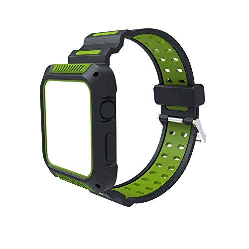 Farben Uhrenarmband | Kompatibel für Apple Watch 1/2/3 42mm | Doppeltes Farben-Silikon-Armband-Bügel-Band-Sport-Manschetten-Eignungs-Band für Männer ()