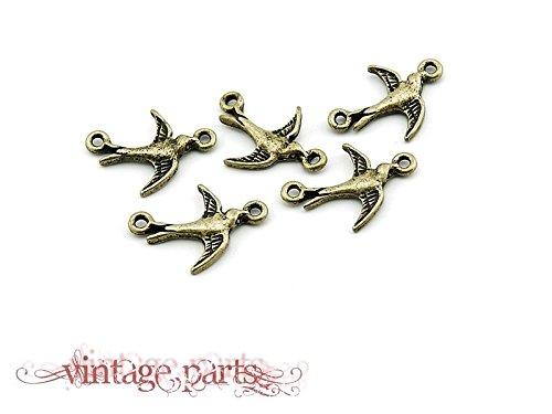 6 Schwalben Verbinder Vintage Bronze von Vintageparts, DIY-Schmuck