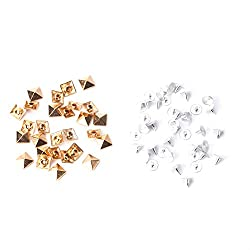 Trimming Shop 100 x 15mm Rose Gold Square Pyramid Punk Spike Studs Rivets for Leather Clothing Jeans Bags Arts and Craft Embellishment by