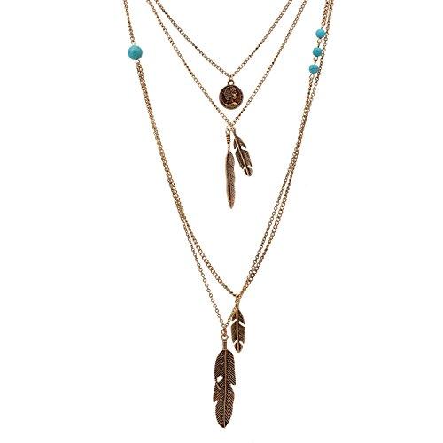lureme® Jahrgang mehrschichtigen Kette um Kopf Porträt Metallfedern Anhänger Halskette (01003379) (antikes ()