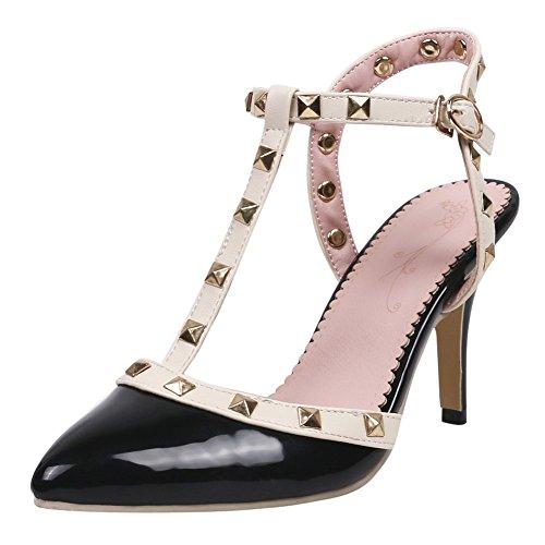 YE Damen T-Spangen Sandalen Stiletto High Heels Sandaletten Spitze Slingback Pumps mit Nieten und Schnalle 8cm Absatz Schuhe