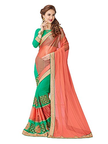 Koroshni sarees for Women Orange Embroidered Half And Half Georgette Saree With Blouse Material  available at amazon for Rs.899