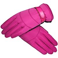 HEJIANGTAO Coton d'hiver Chaud ché Equitation imperméable à l'eau froide Plus Velours épississement gants de ski en Plein Air Hommes, Femmes Rose