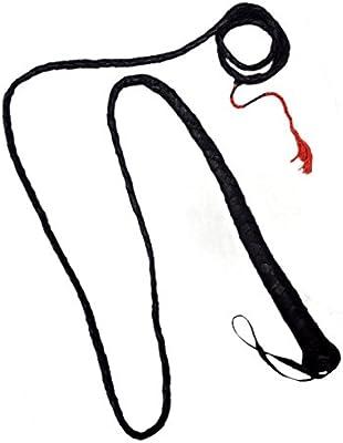 Látigo 6ft 6'de largo–Deluxe–piel–negro trenzada con asa y rojo punta