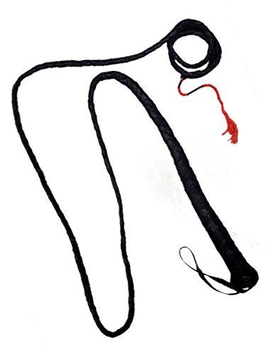 m Echtleder, Schwarz, geflochten mit Schlaufengriff und roter Spitze (Adult Deluxe Indiana Jones Kostüme)