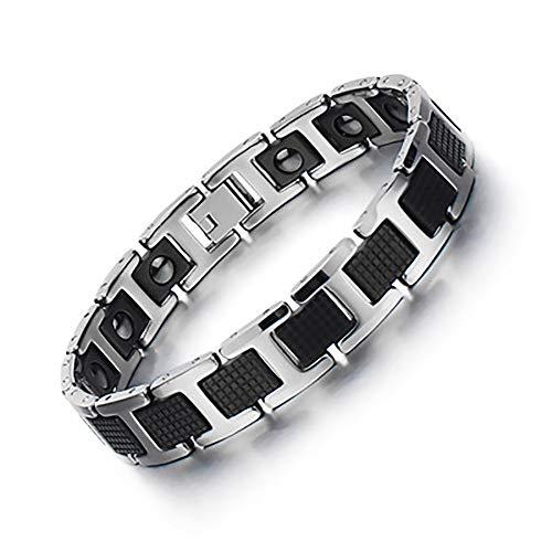 TEHWDE Titan-Magnettherapie-Armband für Arthritis Karpaltunnel Schmerzlinderung Magnetisches Herren-Armband mit Geschenkbox Herren Damen Armband für Männer in Schwarz Farbe
