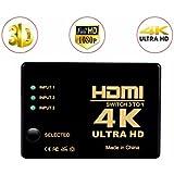 Commutateur HDMI 4K UHD,3 Ports Switcher 3 en 1 sortie HDMI Umschalter, Support HDCP 3D, Full HD 1080p, Ultra HD 2160p, Auflösung: bis 4k bei 30Hz pour HD-DVD, SKY-STB, PS3, XBOX360, HDTV, Moniteur