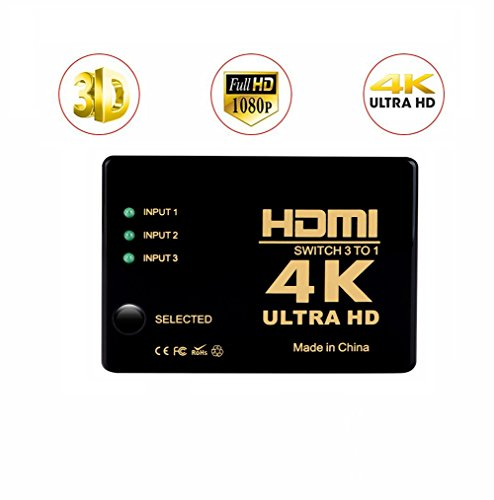 4K HDMI Switch 3X1,3 Ports Switcher 3 in 1 out HDMI Umschalter,Support HDCP 3D, 1080p,Auflösung: bis 4k bei 30Hz for PC,Laptop,XBOX,HD-DVD,SKY-STB,PS4,HDTV,Monitor,HD Projector and More