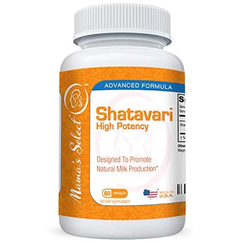 Shatavari de Mama's Select para la producción de leche materna natural, suplemento para la lactancia que equilibra el sistema hormonal femenino durante la crianza y la lactancia, 60 cápsulas veganas, seguro, sin OMG