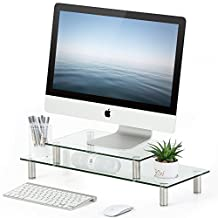 FITUEYES 2 or 1 Tier Compuer Monitor Riser Desktop Organizer Stand for PC/Laptop/Xbox/LCD LED Flat TV DT206002GC