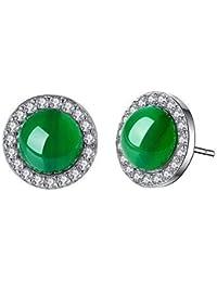 0f1091a37a48 Hoveey 1 par de pendientes de tuerca de plata de ley verde jade para niñas y