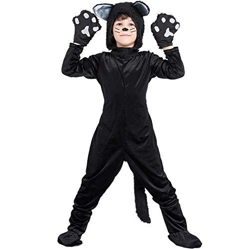 HFZY Kinder Schwarze Katze/Schwarze Cosplay Overall/Junge Mädchen Kleidung/Schwarze Katze schwarz Cosplay Kostüm,Black,XL (Für Kostüm Katze Schwarze Jungen)