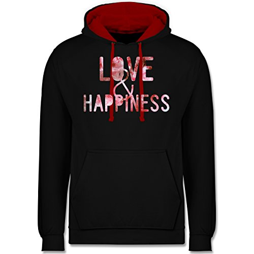 Statement Shirts - Love & Happiness Pink - Kontrast Hoodie Schwarz/Rot