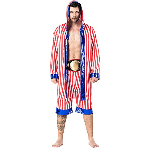 Herren Halloween Boxer Kostüm Adult Boxing Champion Kostüm KnockOut Hooded Boxer Robe (Boxer Männer Halloween Kostüm)