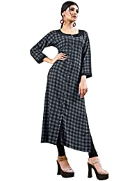 Rose Petals Fully Stitched Indo Western Reyon Check Kurti in Different Designer Cuts and Style with unique neck detailing (CHEp5011), check dress for women western, checks kurtis for women latest