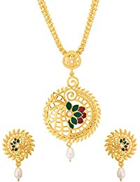 Voylla Designer Gold Plated Long Necklace Set For Women
