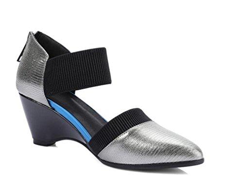 OL Pumps Hochzeit Wedge Mid Heel Elastische Gürtel Frauen Mandel geformte Zehen Knöchelriemen Elegante Schuhe EU Größe 34-39 gun color