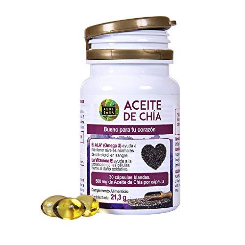 Chia oil for the health of our body - Food supplement of chia capsules 100% natural - Chia seeds extract with omega 3, 6 and 9 and vitamin E - 30 capsules