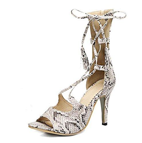 SHINIK Femmes Sandales Serpentine Talons hauts Cool Bottes Peep Toe attaché avec des chaussures de gland White