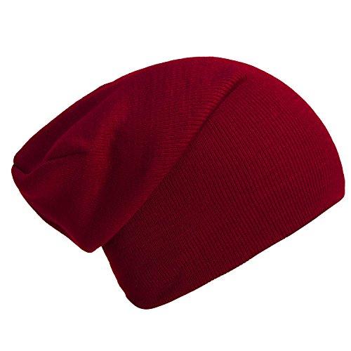 Imagen de dondon gorro de invierno gorro de abrigo slouch beanie diseño clásico moderno y suave rojo de bordeaux