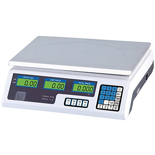 Power-Preise24 Digitale Tischwaage Digitalwaage 5g - 30kg elektronische Marktwaage mit Akku oder 230 Volt Kabel Verkaufswaage LCD Display Edelstahl-Platte