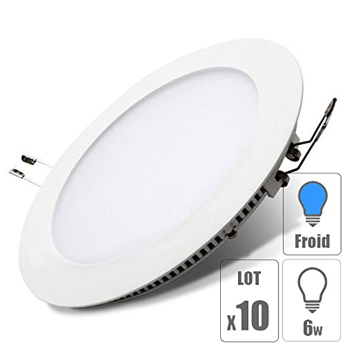 lot x10 Spot led downlight rond 6w encastrable slim blanc froid pour plafonnier extra plat TechBox