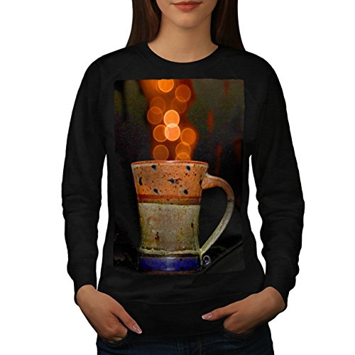 stylish-cup-of-tea-color-bubbles-women-new-black-m-sweatshirt-wellcoda