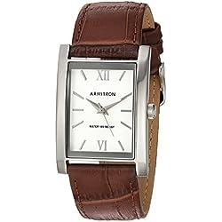 Armitron Men's 20/5118SVSVBN Silver-Tone and Brown Croco-Grain Leather Strap Watch