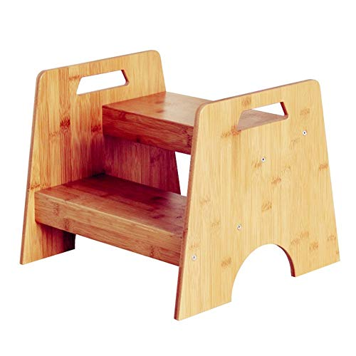 2-Stufen Kinderschemel Tritthocker, Bambus Hocker für Kinder Kleinkind Tritthocker, Kleine Küche & Bad, Töpfchen Trittschemel Tragbare integrierte Tragegriffe