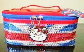 Hello Kitty Großer Union Jack Pailletten Reise Kulturbeutel oder Kosmetiktasche