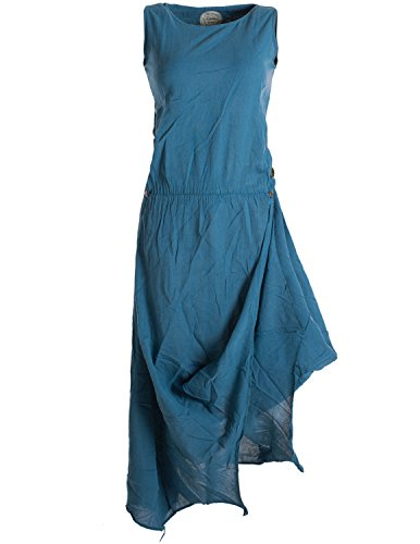 Vishes - alternative Bekleidung - Ärmelloses lagenlook Kleid aus Baumwolle zum Hochbinden türkis 52/ 4XL
