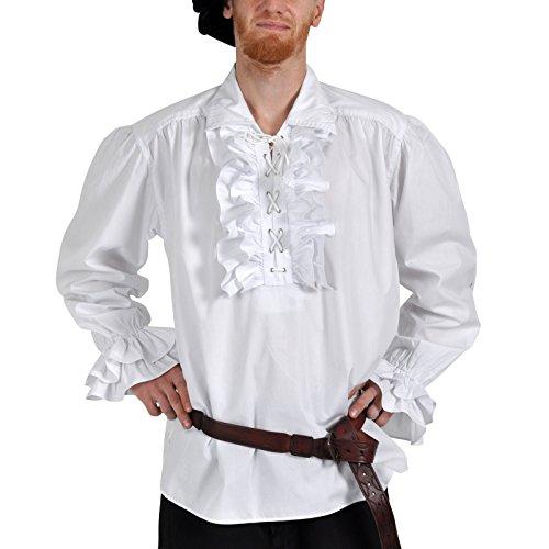 Rüschenhemd mit Kragen, Baumwolle, weiß, Größen S - XXL Wei�