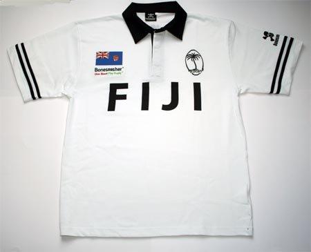 Bonesmasher Fiji Rugby Shirt, Größe L, Weiss, Kurzarm