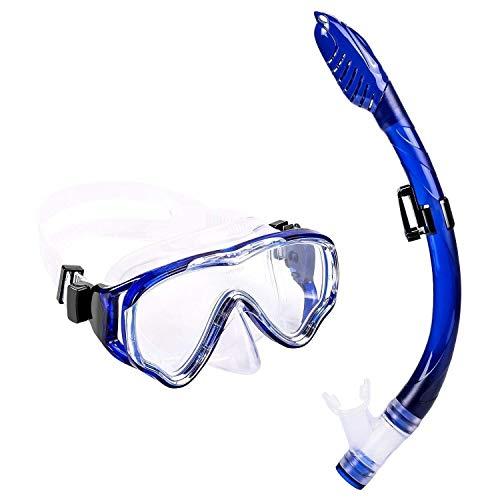 Depory Schnorchelset Kinder/Erwachsene - Taucherbrille Anti-Fog und Trocken Schnorchel - Anti-Leck Tauchmaske Dry Schnorchel - Schnorcheln Set für Jungen Mädchen