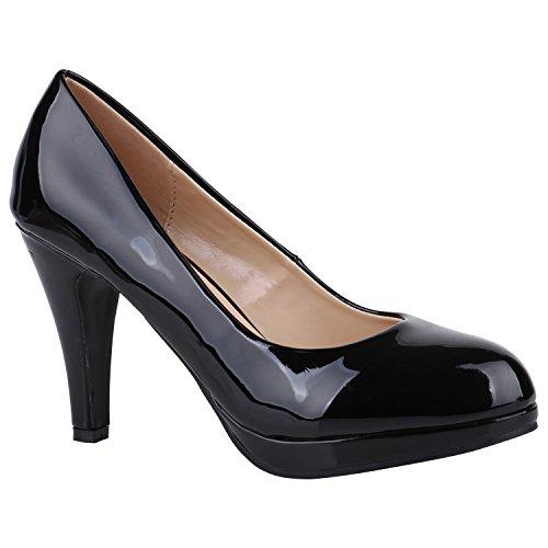 Damen Schuhe Pumps Plateau Pumps High Heels Lack Stiletto Elegante 156034 Schwarz Lack Camiri 39 Flandell