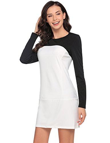 Beyove Damen Langarm Casual Kleid Businesskleid Color Blocking Shirtkleid Rundhals Tunika Schwarz