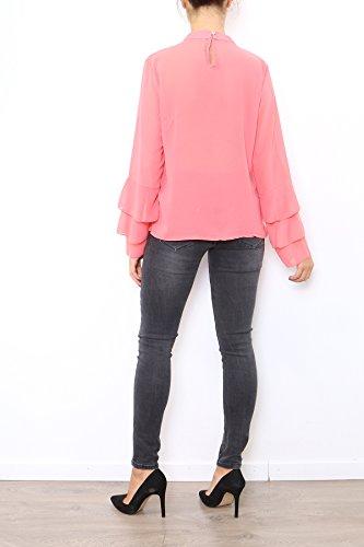 Lyse Damen Langarmshirt, Einfarbig One Size Korallenrot