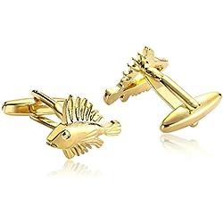 AnaZoz Joyería de Moda 1 Par Gemelos de Hombre Acero Inoxidable Pescado Especial Hueco Color Oro Gemelos Para Hombre
