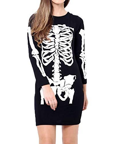 Islander Fashions Womens Manga Larga con Estampado de Bodycon Vestido de Fiesta de Halloween Vestido de t�nica Negro Peque�o/Medio