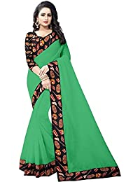 High Glitz Fashion Women's Green Colour Chanderi Cotton Saree With BLouse Piecs