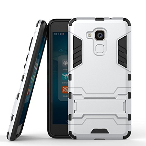 Hülle für Huawei Honor 5C / Honor 7 Lite / Huawei GR3 (5,2 Zoll) 2 in 1 Hybrid Dual Layer Shell Armor Schutzhülle mit Standfunktion Case (Silber)