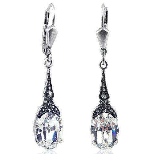 Jugendstil Ohrringe mit Kristallen von Swarovski Silber NOBEL SCHMUCK