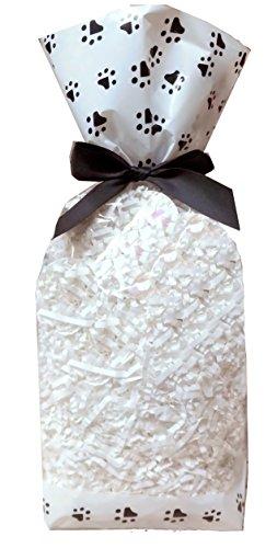 50 x klar Zellophan Block Boden Party süß Süßigkeiten behandeln Taschen (groß - 120x80x330mm) - Schwarzweiss-Tatzen-Druckentwurf