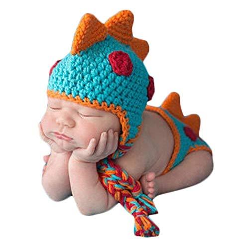 Szh shop Baby-Foto-Kostüm-Hut Windel, Neugeborenes Fotografie Props, handgemachte gestrickter Dinosaurier-Ausstattungs-Hut und (Neugeborenen Dinosaurier Kostüm)