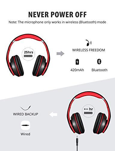 Mpow Bluetooth Kopfhörer over Ear, [Bis zu 20 Std] Hi-Fi Stereo mit Dual 40mm Treiber, CVC 6.0 Noise Canceling für Integriertem Mikrofon Freisprechen - 3