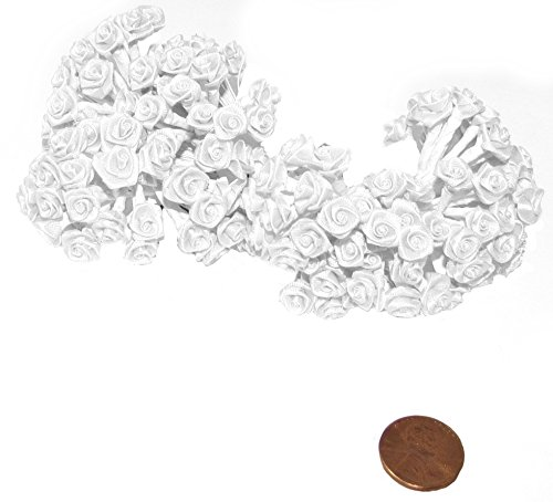 (144 Silk Mini Wrap Roses Wedding Shower Flower Picks - White by Party Favors Plus)