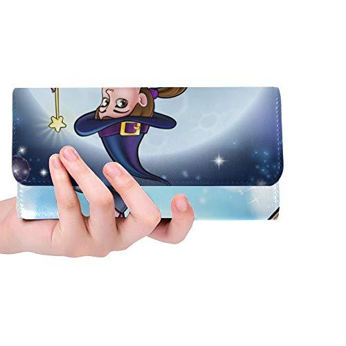 Einzigartige benutzerdefinierte Cartoon Halloween Hexe Charakter Fliegende Frauen Trifold Wallet Lange Geldbörse Kreditkarteninhaber Fall Handtasche